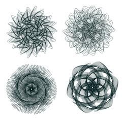 Set of spirograph elements.