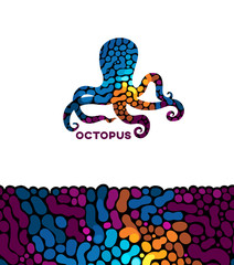 Vector octopus with a abstract ornament.