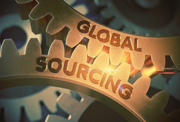 Global Sourcing on the Mechanism of Golden Gears with Lens Flare. Global Sourcing - Technical Design. 3D Rendering.