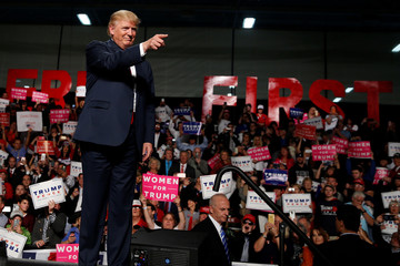 Republican presidential nominee Donald Trump appears at a campaign rally in Warren