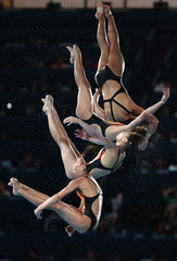 China's Hu Yadan performs her fifth dive during the women's 10m platform semi-final at the London 2012 Olympic Games at the Aquatics Centre