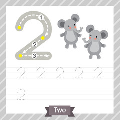 Number two tracing practice worksheet with 2 elephants for kids learning to count and to write. Vector Illustration.