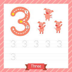Number three tracing practice worksheet with 3 pigs for kids learning to count and to write. Vector Illustration.