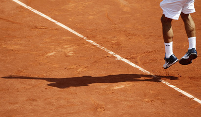 Roger Federer plays a shot during his match against Alejandro Falla at the French Open tennis tournament in Paris