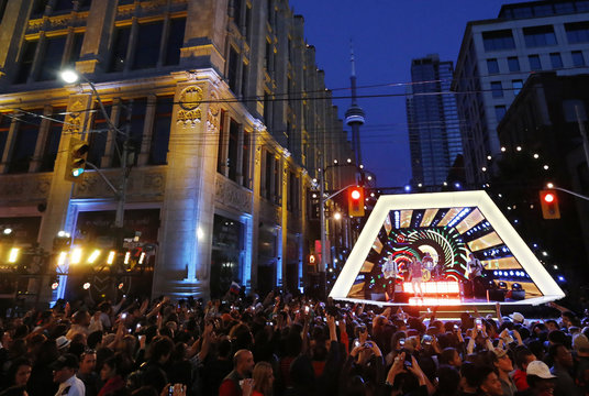 Magic! performs on the John Street stage with the CN Tower in the background at the MuchMusic Video Awards (MMVA) in Toronto