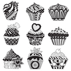 Zentangle stylize of nine beautiful cupcakes for design element, logo, tattoo, printed design and adult coloring book pages. Stock Vector