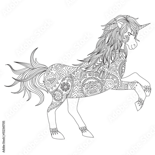 Zendoodle Design Of Jumping Unicorn For Adult Coloring Book T Shirt And Other