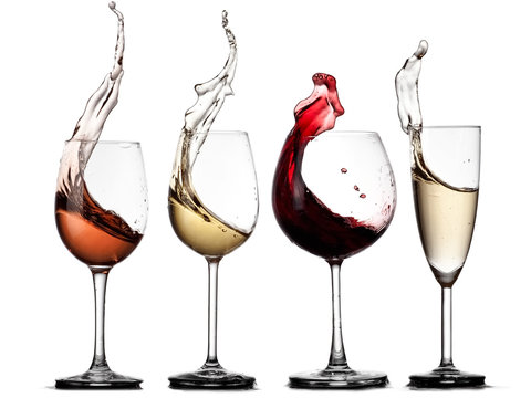 Red, rose, white wine and champagne glasses up
