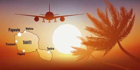 Tahiti - île - tourisme - carte - avion - destination -voyage - Polynésie