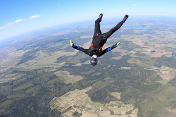 Skydiver in head down position