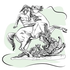 Saint George with a sword and and the dragon. Sketch