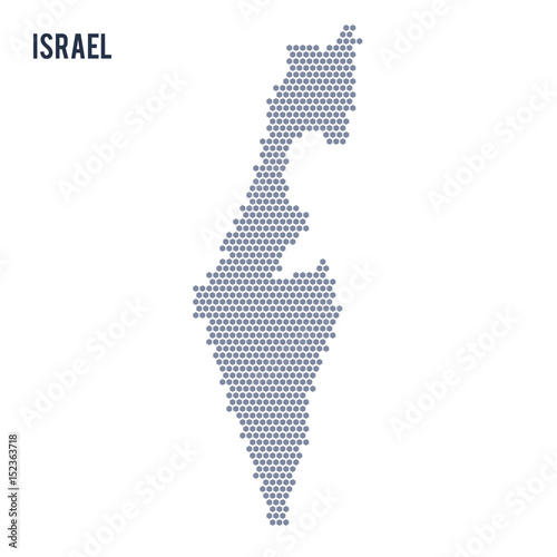 Vector hexagon map of Israel on a white background