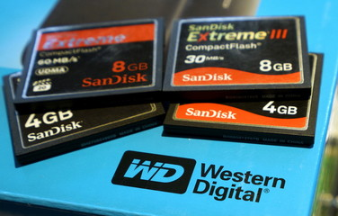A variety of SanDisk memory cards are seen with a Western Digital hard drive box in Golden