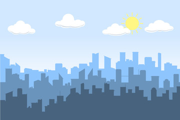 Random blue city skyline Vector on light background. Day.