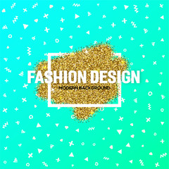 Fashion design template for promotion, sale, typography poster, card, label, and other design. a scattering gold confetti and trendy geometric form. Vector EPS10