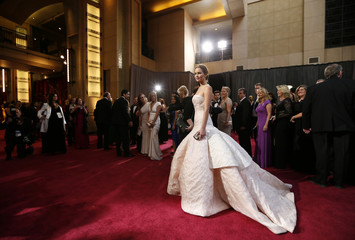 """Best Actress Nominee Jennifer Lawrence for """"Silver Linings Playbook"""" arrives at the 85th Academy Awards in Hollywood, California"""