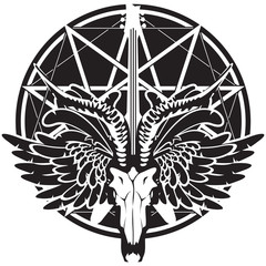 vector illustration with an electric guitar and skull of goat and wings on the background of satan star