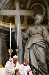 Pope Francis leads the Chrism Mass in Saint Peter's Basilica at the Vatican