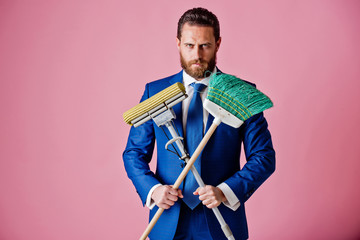business and home, fashion, handsome man or businessman with broom