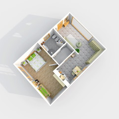 3d inerior rendering of furnished home apartment