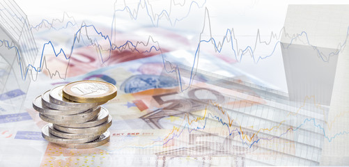 Spekulation, Finanzen Euro, Börsencharts und Hochhäuser, Panorama, Hintergrund