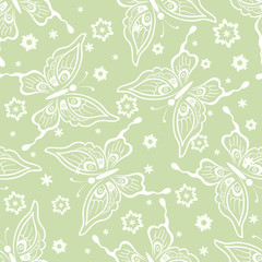 Seamless Background, Butterflies White Contours and Flowers,Tile Pattern. Vector