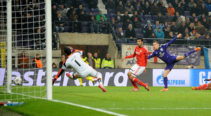 Anderlecht's Bruno scores past Benfica's goalkeeper Artur during their Champions League soccer match in Brussels