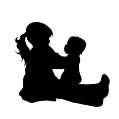 Vector silhouette of girl with baby on white background.