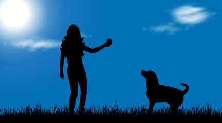 Vector silhouette of woman with dog in nature.
