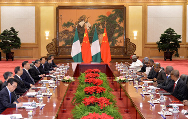 Muhammadu Buhari, President of the Federal Republic of Nigeria and Chinese President, Xi Jinping, attend the meeting at Great Hall of the People in Beijing