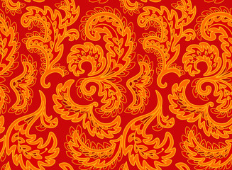 Vintage floral seamless pattern. Ethnic ornament. Stylized decorative leaves in folk style. Traditional handcraft. Seamless texture in bright red and yellow colors. Vector