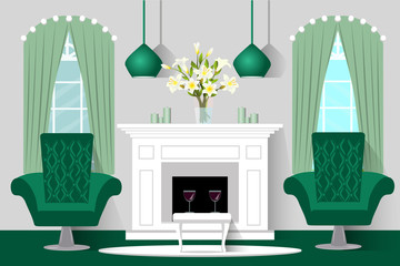 Interior living room. Fireplace and chairs. Vector flat illustration