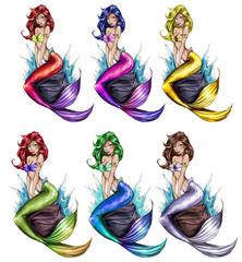 Raster Illustration - Mermaids - Cartoon Character