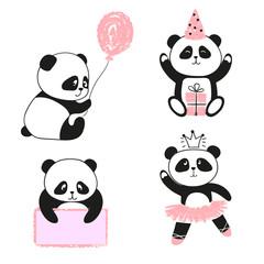Cute cartoon panda bears set. Vector illustration.
