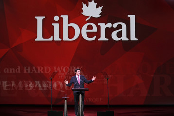 Liberal leader Justin Trudeau gestures as he gives keynote address at Liberal Biennial Convention in Montreal