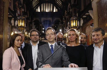 Belgian Flemish right-wing party President De Wever delivers a speech at Antwerp's city hall