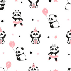 Seamless cute panda bears pattern. Vector background for kids design.