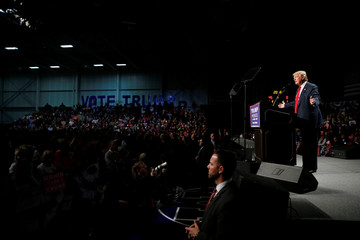 Republican presidential nominee Donald Trump appears at campaign rally in Warren