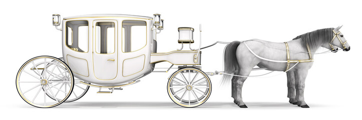 White horse drawn carriage