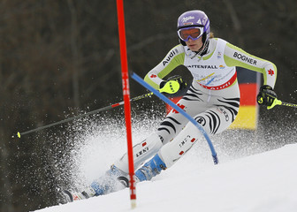 Riesch of Germany competes during the women's slalom race at the Alpine Skiing World Championships in Garmisch-Partenkirchen