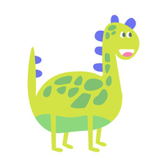 Cute funny green dinosaur. Prehistoric animal character colorful vector Illustration