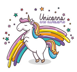 Cute unicorn with stars and rainbow over white background. Vector illustration.