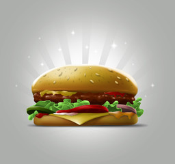 Tasty cartoon burger with sesame seeds and meat on grey background illustration