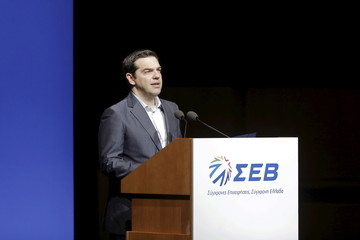 Greek PM Tsipras delivers a speech at the annual conference of the Hellenic Federation of Enterprises in Athens