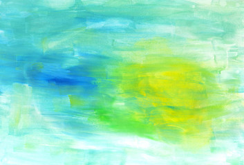 Abstract hand painted watercolor background in bright colors. Creative texture for design.