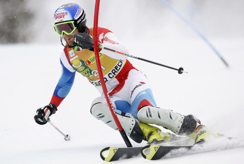 Vogel of Switzerland skis to the seventh best time in the first run of the men's World Cup slalom in Beaver Creek