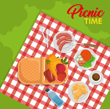 View from above, basket, red gingham pattern blanket and food over green background. Vector illustration.