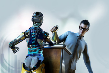 3D Illustration of a man fights with a robot Android cyborg on the arm wrestling