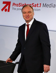 Thomas Ebeling, CEO of Germany's biggest commercial broadcaster ProSiebenSat.1 Media AG, poses before the company's annual news conference in Unterfoehring