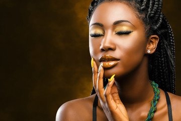 African female beauty portrait with eyes closed. Wall mural